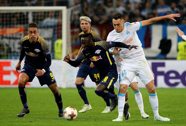 Soccer Football - Europa League Quarter Final Second Leg - Olympique de Marseille v RB Leipzig - Orange Velodrome, Marseille, France - April 12, 2018 RB Leipzig's Naby Keita in action with Marseille's Lucas Ocampos REUTERS/Jean-Paul Pelissier