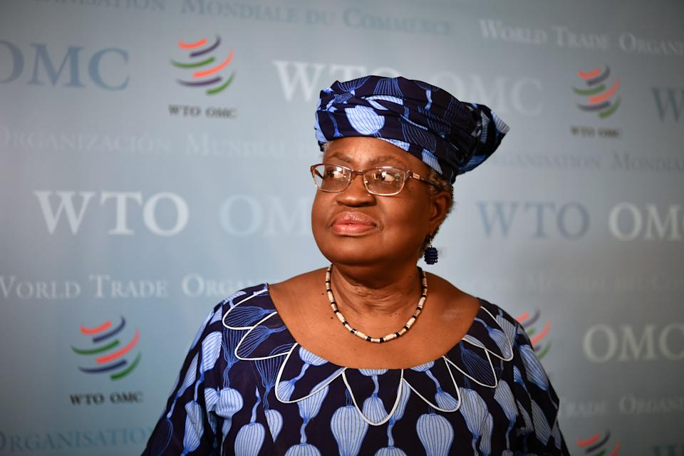 Nigerian former Foreign and Finance Minister Ngozi Okonjo-Iweala look on July 15, 2020, in Geneva, following her hearing before World Trade Organization 164 member states' representatives, as part of the application process to head the WTO as Director General. (Photo by Fabrice COFFRINI / AFP) (Photo by FABRICE COFFRINI/AFP via Getty Images)