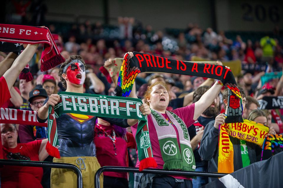 PORTLAND, OR - SEPTEMBER 11: Portland Thorns fans cheer during the North Carolina Courage 6-0 rout over the Portland Thorns at Providence Park, on September 11, 2019, in Portland, OR. (Photo by Diego Diaz/Icon Sportswire via Getty Images).