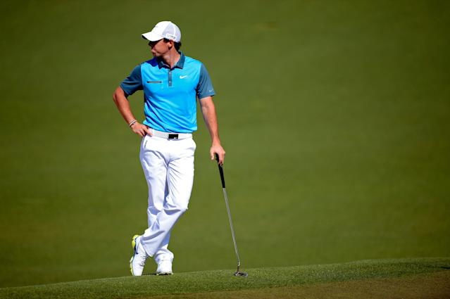AUGUSTA, GA - APRIL 12: Rory McIlroy of Northern Ireland waits on the second green during the third round of the 2014 Masters Tournament at Augusta National Golf Club on April 12, 2014 in Augusta, Georgia. (Photo by Harry How/Getty Images)