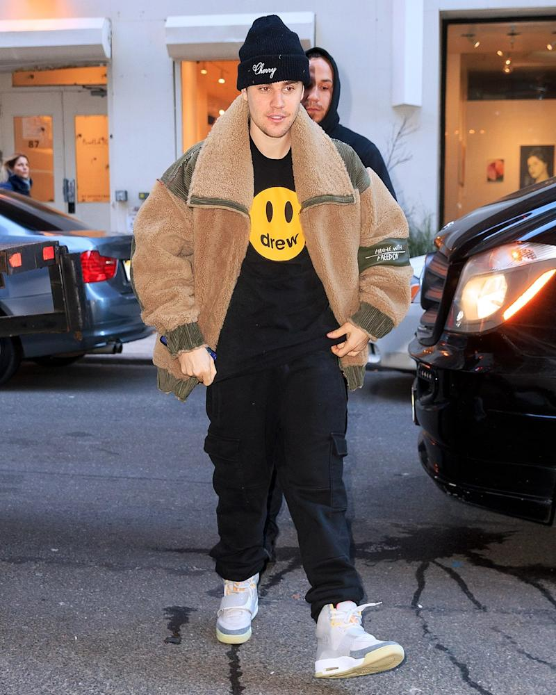 Justin Bieber with a serious flex: his own sold-out clothing line and a pair of long-gone Nike Air Yeezys.