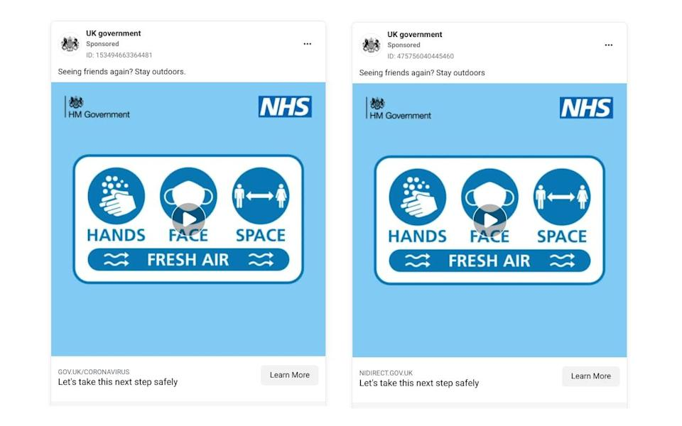 """A screenshot from Facebook's ad library shows two almost idential adverts from a page called """"UK government"""", each with the same pale blue image showing the NHS logo and pictograms of hand-washing, masks and social distancing with the mantra """"HANDS, FACE, SPACE, FRESH AIR"""". Above each one is a caption: """"Seeing friends again? Stay outdoors."""" However, one advert lacks a full stop at the end of that sentence and links to a Northern Irish government website, while the other links to the UK central government and has a full stop. - Facebook Ad Library/HM Government"""