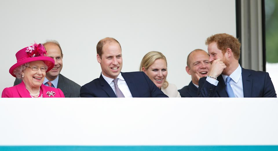 LONDON, UNITED KINGDOM - JUNE 12: (EMBARGOED FOR PUBLICATION IN UK NEWSPAPERS UNTIL 48 HOURS AFTER CREATE DATE AND TIME) Queen Elizabeth II, Prince Edward, Earl of Wessex, Prince William, Duke of Cambridge, Zara Phillips, Mike Tindall and Prince Harry watch a carnival parade as they attend 'The Patron's Lunch' celebrations to mark Queen Elizabeth II's 90th birthday on The Mall on June 12, 2016 in London, England. (Photo by Max Mumby/Indigo/Getty Images)