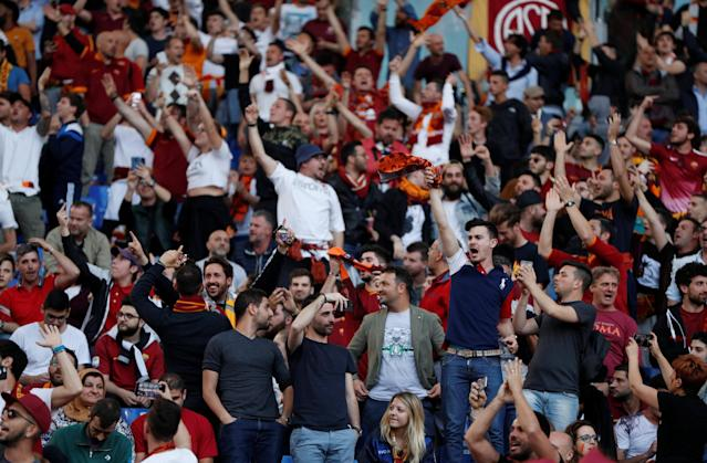 Soccer Football - Champions League Semi Final Second Leg - AS Roma v Liverpool - Stadio Olimpico, Rome, Italy - May 2, 2018 Roma fans inside the stadium before the match Action Images via Reuters/John Sibley