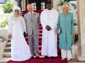 """<p>Camilla Parker Bowles wore an embroidered teal tunic and white palazzo pants for her visit to the Stade House in Banju, Gambia. The Duchess of Cornwall paired the outfit with statement earrings from the Alhambra collection of Van Cleef & Arpels. </p><p><a class=""""link rapid-noclick-resp"""" href=""""https://go.redirectingat.com?id=74968X1596630&url=https%3A%2F%2Fwww.neimanmarcus.com%2Fp%2Fvan-cleef-arpels-magic-alhambra-earrings-3-motifs-prod209810089%3FchildItemId%3DNMPAJRJ_%26navpath%3Dcat000000_cat000730_cat55380742_cat68310740%26page%3D0%26position%3D11%26uuid%3DPDP_PAGINATION_eb523174c01d8b95708c10bc8c17e153_zXN2JZeFjcrkCR7Q9ldcb9G0&sref=https%3A%2F%2Fwww.townandcountrymag.com%2Fstyle%2Ffashion-trends%2Fg14510433%2Fcamilla-parker-bowles-fashion-style%2F"""" rel=""""nofollow noopener"""" target=""""_blank"""" data-ylk=""""slk:SHOP NOW"""">SHOP NOW</a> 3 Motifs Magic Alhambra Earrings by Van Cleef & Arpels, $7,700 </p>"""