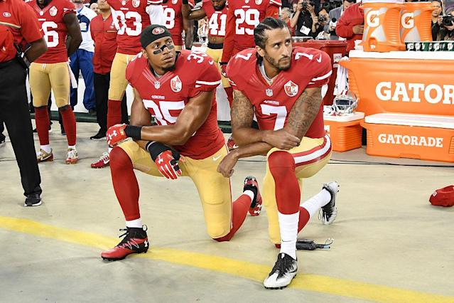 Eric Reid knelt alongside Colin Kaepernick in 2016. (Getty)