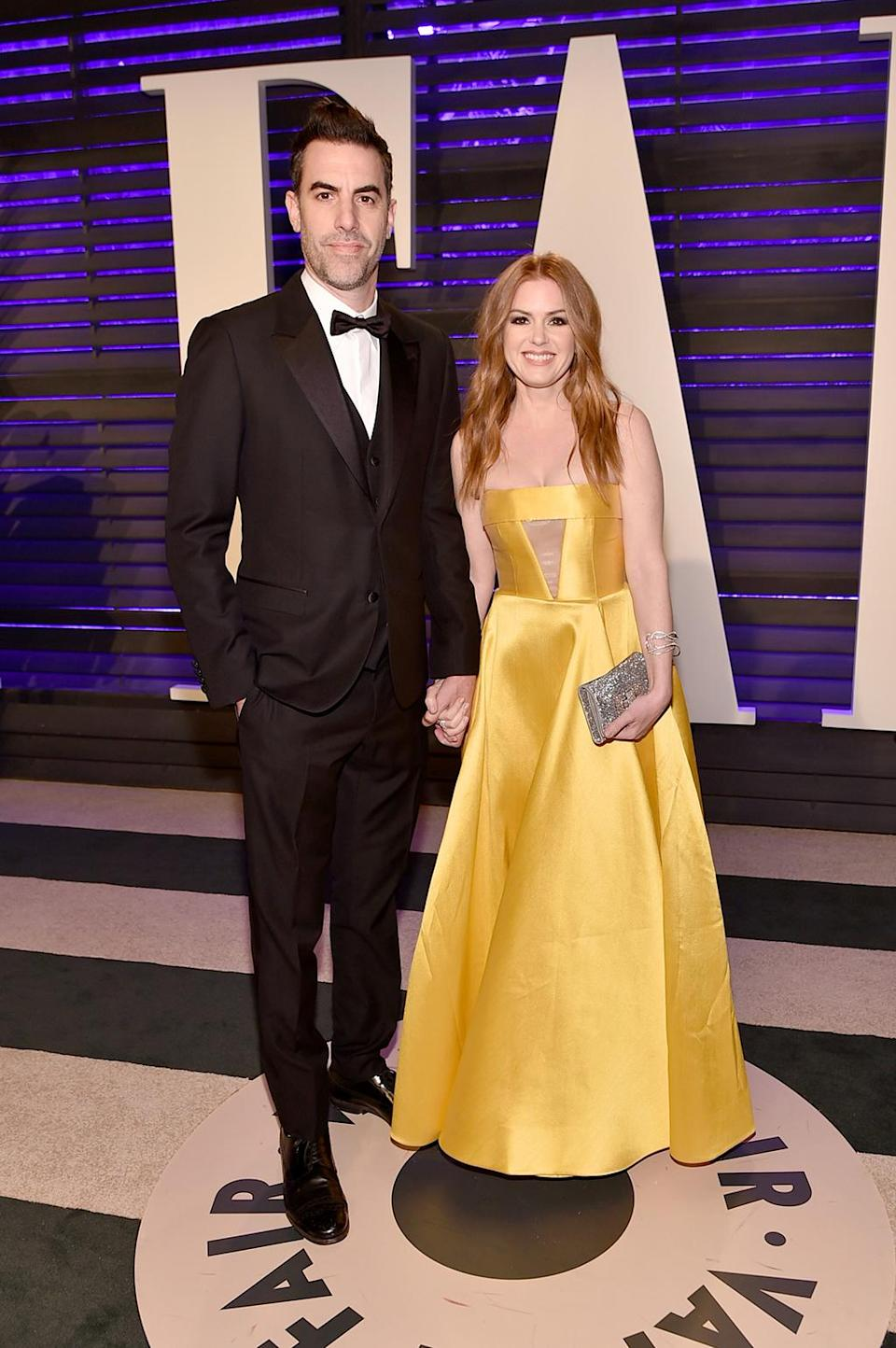 <p>Sacha Baron Cohen and Isla Fisher attend the 2017 Vanity Fair Oscar Party hosted by Graydon Carter at Wallis Annenberg Center for the Performing Arts on February 26, 2017 in Beverly Hills, California. (Photo by Mike Coppola/VF17/Getty Images for VF) </p>