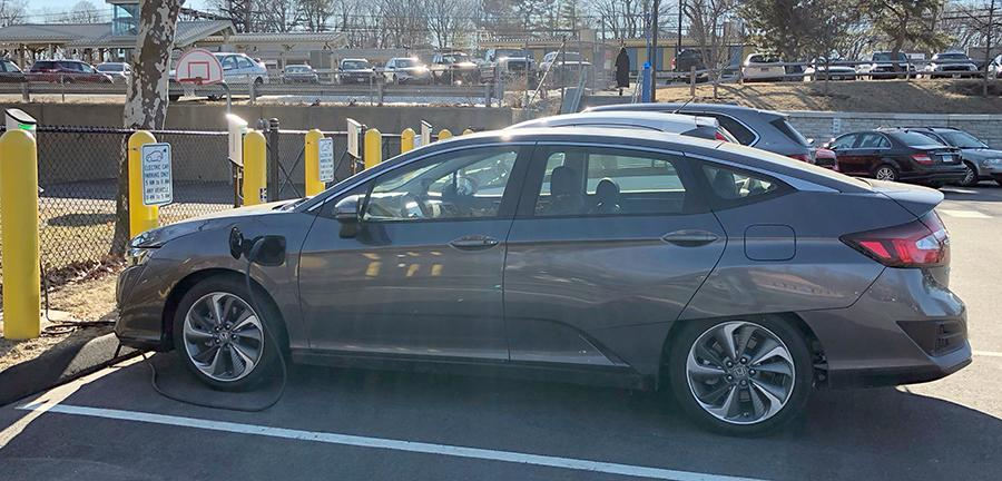 """My first time parking the Clarity at an """"EV CARS ONLY"""" spot!"""