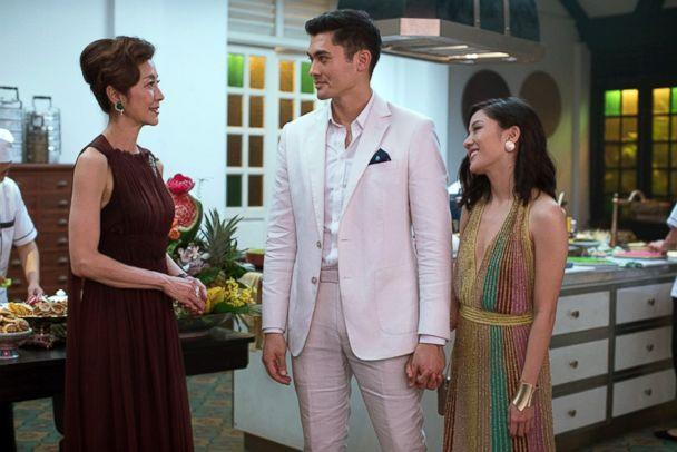 PHOTO: Michelle Yeoh, left, Henry Golding and Constance Wu in a scene from 'Crazy Rich Asians.' (Warner Bros.)