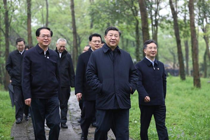 Chinese President Xi Jinping visits Hangzhou, in eastern China's Zhejiang Province, on March 31, 2020.