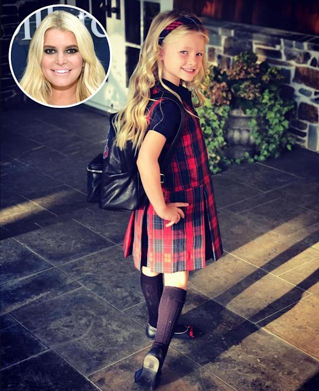 "<p>Look out, world! Jessica Simpson shared a photo of her older child, daughter Maxwell, on her first day of K. ""KINDERGARTEN,"" Jess wrote. (Photos: <a href=""https://www.instagram.com/p/BYeCBHugRTZ/?hl=en&taken-by=jessicasimpson"" rel=""nofollow noopener"" target=""_blank"" data-ylk=""slk:Jessica Simpson via Instagram"" class=""link rapid-noclick-resp"">Jessica Simpson via Instagram</a>/Getty Images)<br><br></p>"