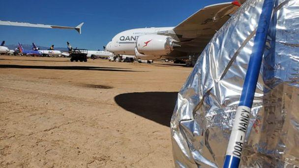 PHOTO: Wheels of aircraft in storage are wrapped to keep out snakes and spiders at the Los Angeles Qantas facility. (Qantas)