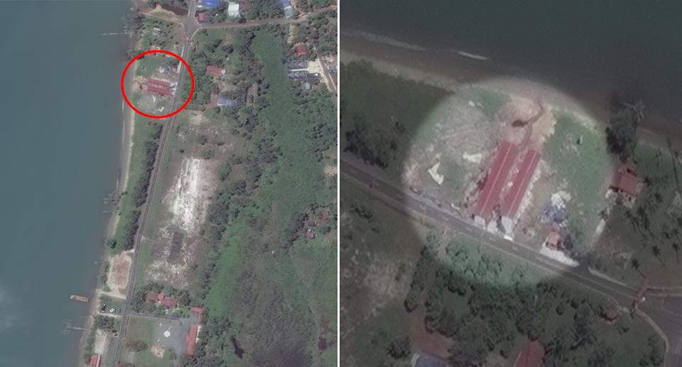 Satellite pictures reveal the new construction on the northern end of the Realm Naval Base in Cambodia.