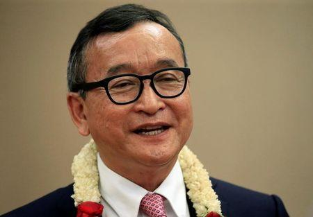 FILE PHOTO: Cambodian opposition leader Sam Rainsy answers questions during an interview with Reuters at a hotel in metro Manila, Philippines