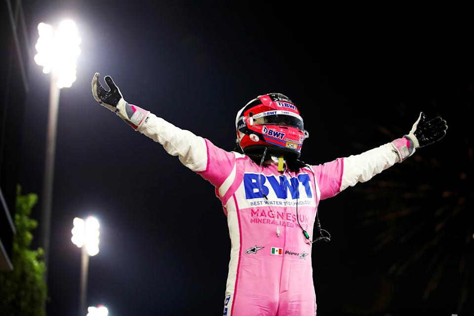 BAHRAIN, BAHRAIN - DECEMBER 06: Race winner Sergio Perez of Mexico and Racing Point celebrates in parc ferme during the F1 Grand Prix of Sakhir at Bahrain International Circuit on December 06, 2020 in Bahrain, Bahrain. (Photo by Bryn Lennon/Getty Images)