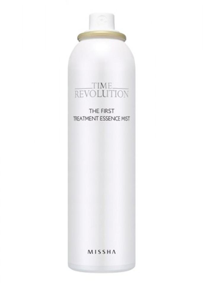 "Missha Time Revolution The First Treatment Essence Mist, $20; at <a rel=""nofollow"" href=""http://www.misshaus.com/time-revolution-the-first-treatment-essence-mist-50ml.html"">Missha</a>"