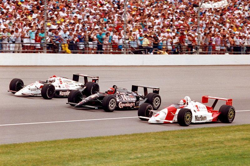 """Rick Mears, Mario Andretti, A.J. Foyt – 1991 front row – 9 Indy 500 wins and 14 Indy car championships between them! <span class=""""copyright"""">IndyCar Series</span>"""