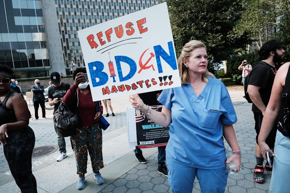 People participate in a rally and march against COVID-19 mandates on September 13, 2021 in New York City.