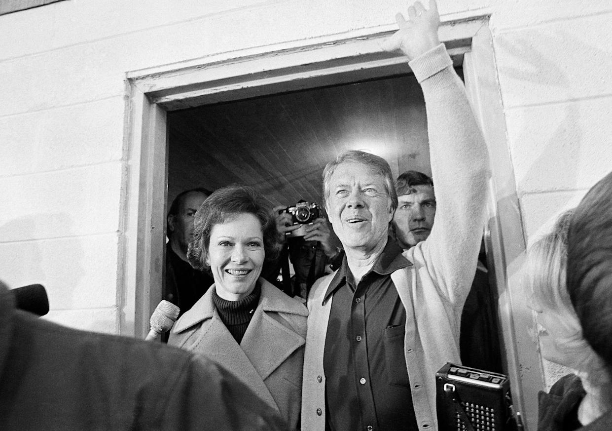 Then-presidential candidate Jimmy Carter with his wife, Rosalynn, Nov. 2, 1976. (Photo: AP)