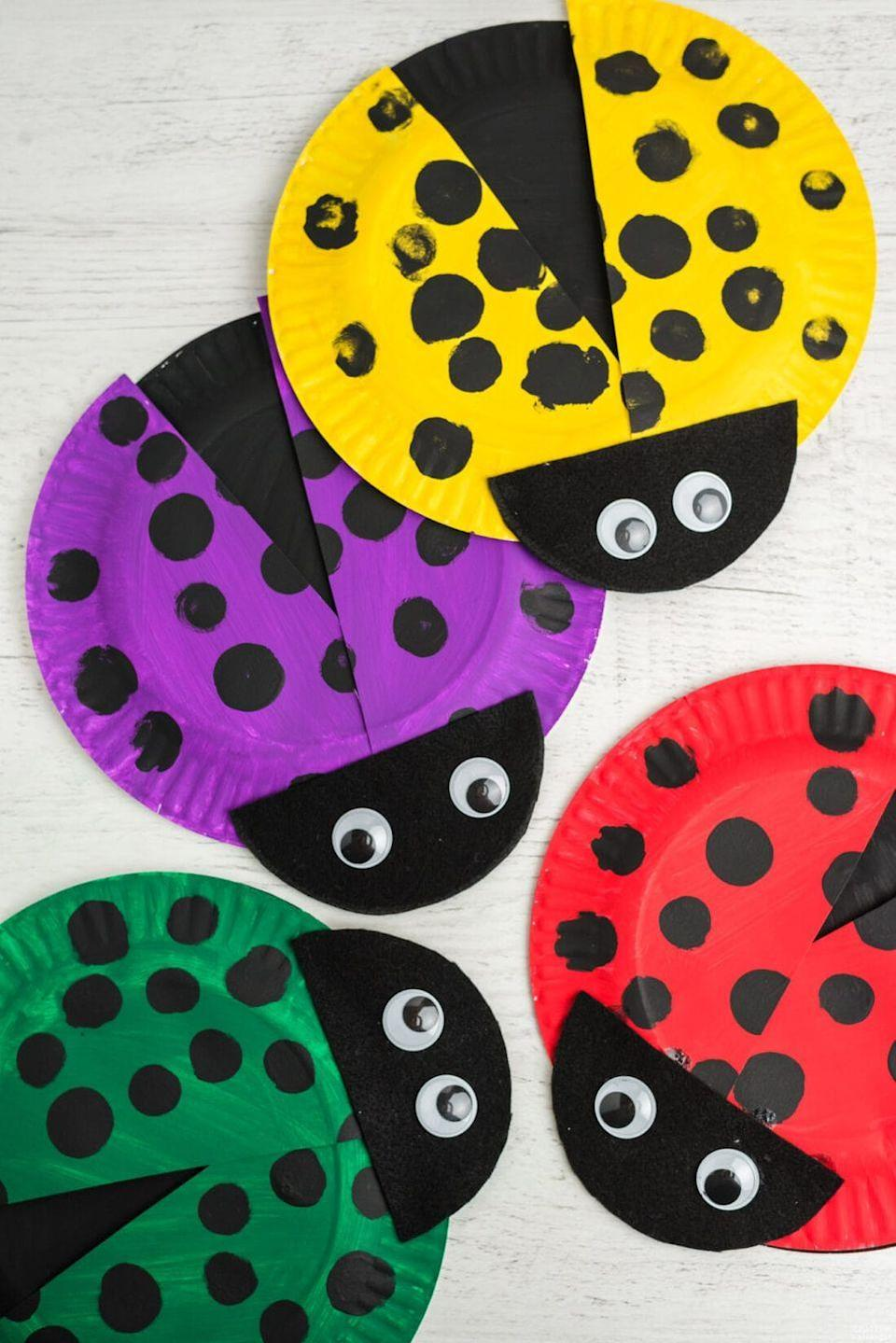 """<p>As long as you have paper plates, googly eyes, felt, and acrylic paint, then you have a way to keep kids amused for 30 minutes while they make little ladybugs. </p><p><strong><em><a href=""""https://craftsbyamanda.com/paper-plate-lady-bugs/"""" rel=""""nofollow noopener"""" target=""""_blank"""" data-ylk=""""slk:Get the tutorial at Crafts by Amanda"""" class=""""link rapid-noclick-resp"""">Get the tutorial at Crafts by Amanda</a>. </em></strong></p><p><a class=""""link rapid-noclick-resp"""" href=""""https://www.amazon.com/Nonwoven-Patchwork-Costumes-Classrooms-Parties/dp/B0848X13G8?tag=syn-yahoo-20&ascsubtag=%5Bartid%7C10070.g.37055924%5Bsrc%7Cyahoo-us"""" rel=""""nofollow noopener"""" target=""""_blank"""" data-ylk=""""slk:SHOP FELT"""">SHOP FELT</a></p>"""