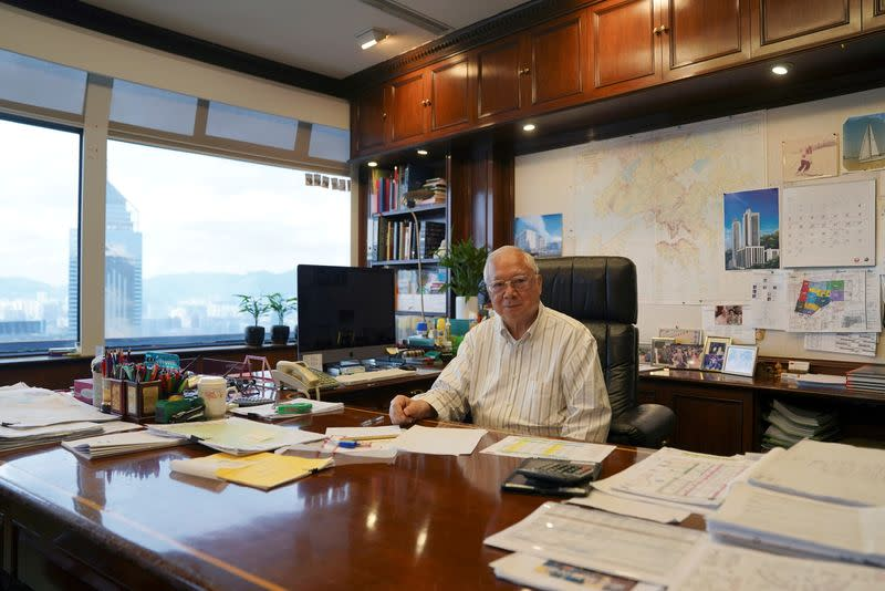 Hopewell Holdings Chairman Gordon Wu poses for pictures during an interview at his office in Hong Kong