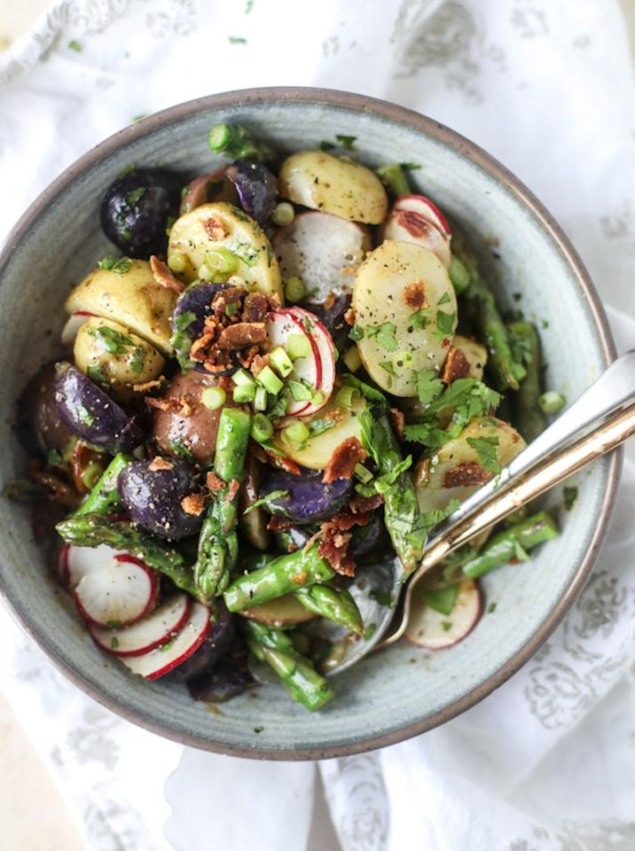 """<p>Did you know that instead of using olive oil in a vinaigrette, you can use bacon grease? YUP. Try it once, and it'll change the way you think about salad forever. Get the recipe <a rel=""""nofollow"""" href=""""http://www.howsweeteats.com/2017/03/asparagus-potato-salad-hot-bacon-dressing?mbid=synd_yahoofood"""">here</a>.</p>"""
