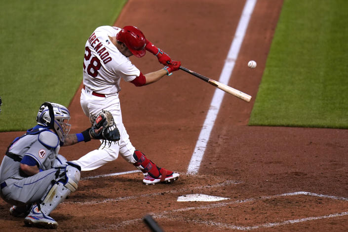 St. Louis Cardinals' Nolan Arenado hits a three-run home run during the third inning of a baseball game against the New York Mets Monday, May 3, 2021, in St. Louis. (AP Photo/Jeff Roberson)