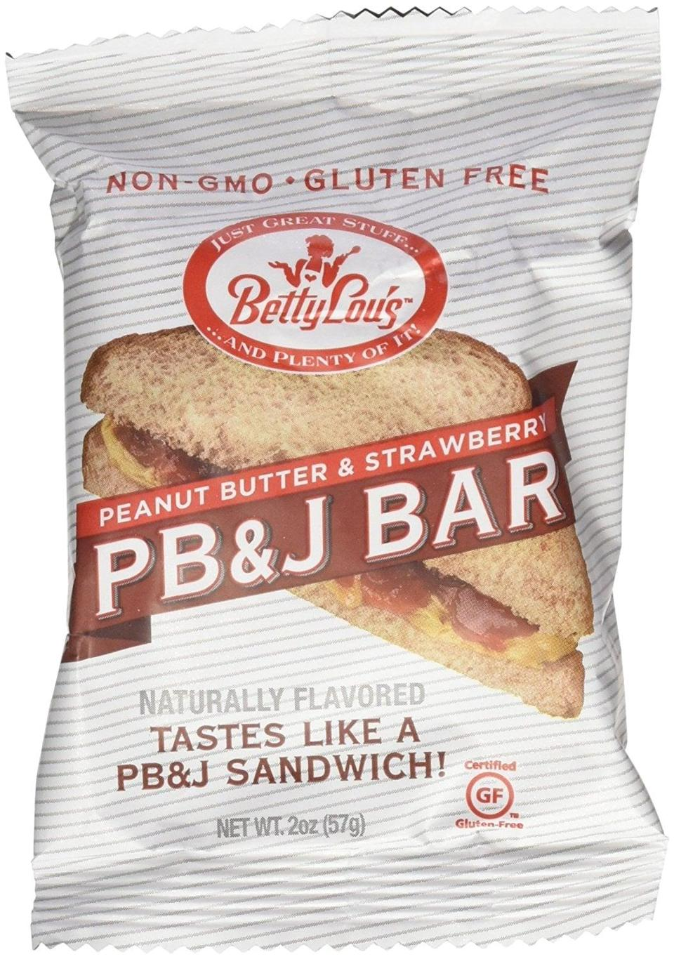 <p>Is there anything more nostalgic than a PB&amp;J sandwich? Now you can eat one whenever you want. <span>Betty Lou's PB&amp;J Bar</span> ($19, originally $22 for 12) is gluten-free, vegan, and non-GMO. Also, it's so good. </p>