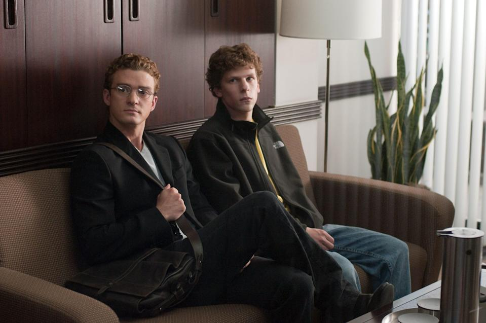 "Justin Timberlake (left) stars Napster founder Sean Parker and Jesse Eisenberg plays Facebook main man Mark Zuckerberg in David Fincher's ""The Social Network."""