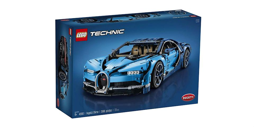"""<p><strong>Lego </strong></p><p>amazon.com</p><p><strong>337.92</strong></p><p><a href=""""https://www.amazon.com/dp/B07C8L9CRJ?tag=syn-yahoo-20&ascsubtag=%5Bartid%7C10060.g.24445809%5Bsrc%7Cyahoo-us"""" rel=""""nofollow noopener"""" target=""""_blank"""" data-ylk=""""slk:Shop Now"""" class=""""link rapid-noclick-resp"""">Shop Now</a></p><p>Lego's Bugatti Chiron will teach you about how the real thing actually works—while being significantly smaller and cheaper. Kids and adults alike will enjoy this mirror-image, 3,599-piece kit.</p>"""