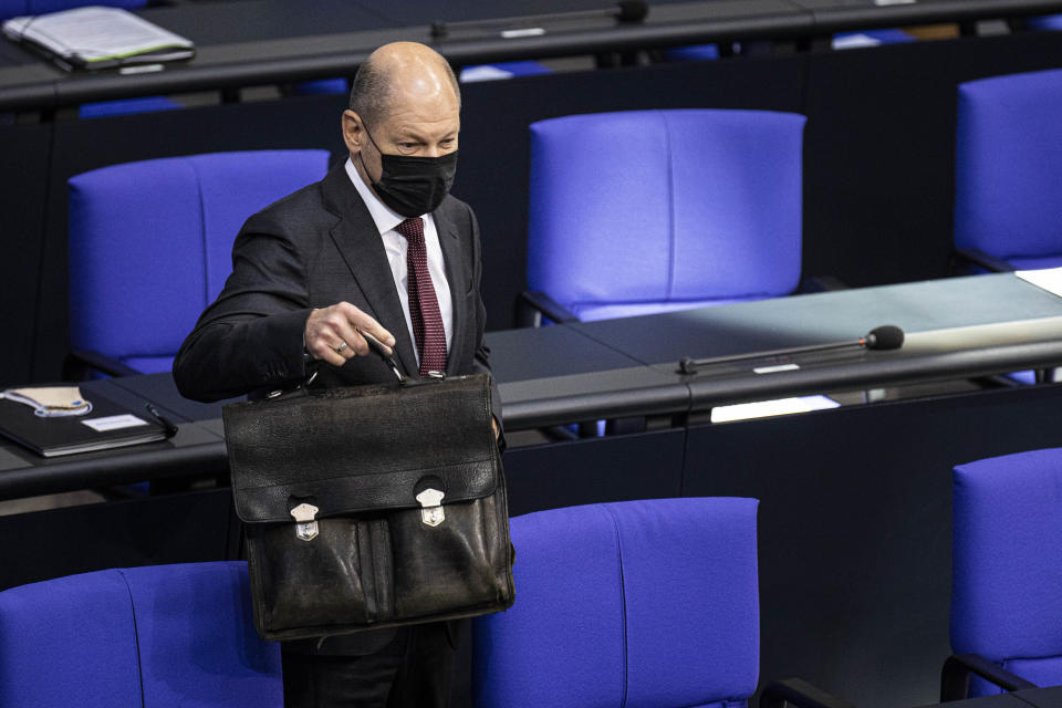 German finance minister Olaf Scholz during a debate about the government's pandemic policies on Thursday in Berlin, Germany. Photo: Florian Gaertner/Photothek via Getty Images