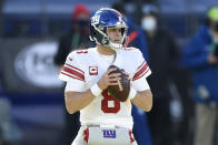 New York Giants quarterback Daniel Jones looks to throw a pass against the Baltimore Ravens during the first half of an NFL football game, Sunday, Dec. 27, 2020, in Baltimore. (AP Photo/Gail Burton)