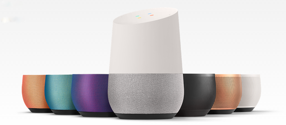Google Home with numerous base colors in an array.