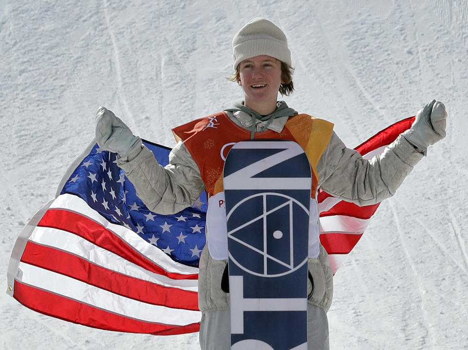 Red Gerard, of the United States, smiles after winning gold in the men's slopestyle final at Phoenix Snow Park at the 2018 Winter Olympics in Pyeongchang, South Korea, Sunday, Feb. 11, 2018. (AP Photo/Lee Jin-man)