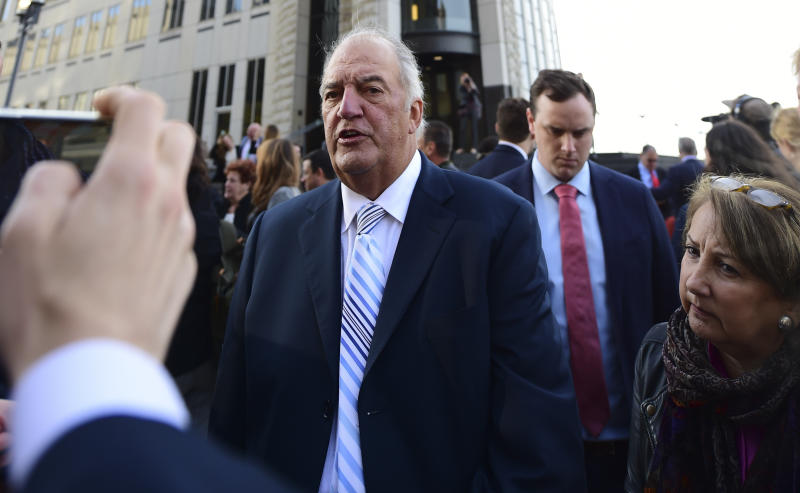 Attorney Joe Rice speaks outside the U.S. Federal courthouse, Monday, Oct. 21, 2019, in Cleveland. The nation's three dominant drug distributors and a big drugmaker have reached an over $200 million deal to settle a lawsuit related to the opioid crisis just as the first federal trial over the crisis was due to begin Monday. (AP Photo/David Dermer)