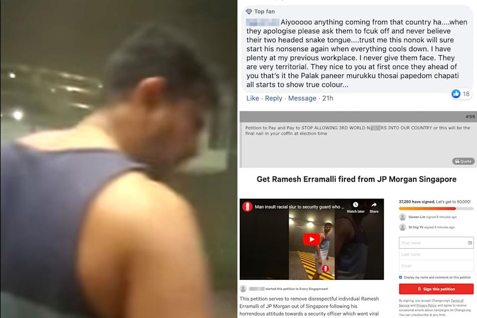A screengrab from the video (left) that got so many netizens up in arms, alongside comments from netizens on the issue and an online petition that was circulated to encourage the firing of the alleged offender from his job.