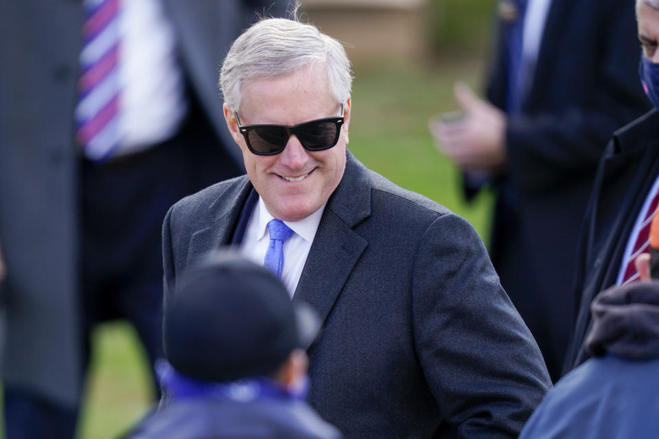 White House chief of staff Mark Meadows looks on before President Donald Trump speaks at a campaign rally at Keith House, Washington's Headquarters, Saturday, Oct. 31, 2020, in Newtown, Pa. (AP Photo/Chris Szagola)
