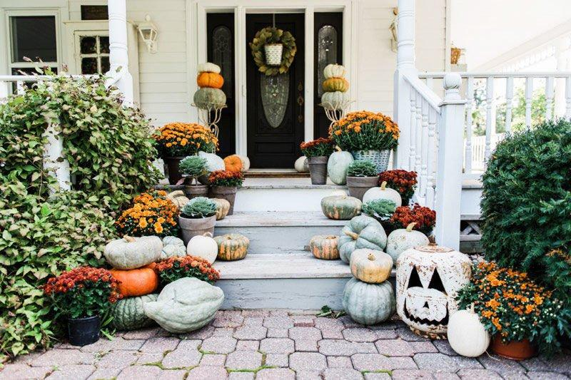 <p>The unplanned look of the pumpkins' placement with richly colored mums and rustic accents make this one cozy-looking porch. The kind of porch you want to sit on at sunset with a mug of apple cider! </p>