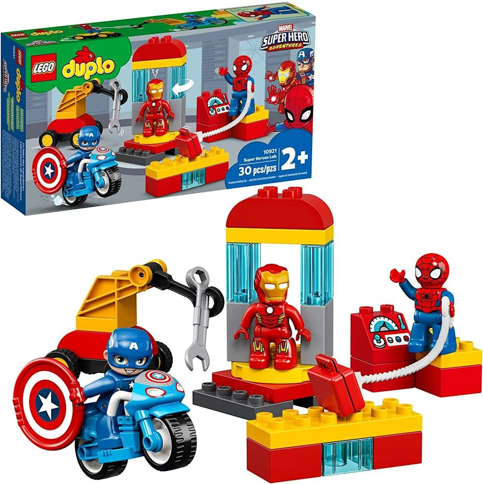 "<p>The <a href=""https://www.popsugar.com/buy/Lego-Duplo-Super-Heroes-Lab-551156?p_name=Lego%20Duplo%20Super%20Heroes%20Lab&retailer=amazon.com&pid=551156&price=30&evar1=moms%3Aus&evar9=47244751&evar98=https%3A%2F%2Fwww.popsugar.com%2Ffamily%2Fphoto-gallery%2F47244751%2Fimage%2F47244771%2FLego-Duplo-Super-Heroes-Lab&list1=toys%2Clego%2Ctoy%20fair%2Ckid%20shopping%2Ckids%20toys&prop13=api&pdata=1"" class=""link rapid-noclick-resp"" rel=""nofollow noopener"" target=""_blank"" data-ylk=""slk:Lego Duplo Super Heroes Lab"">Lego Duplo Super Heroes Lab</a> ($30) has 30 pieces and is best suited for toddlers ages 2 years and up.</p>"