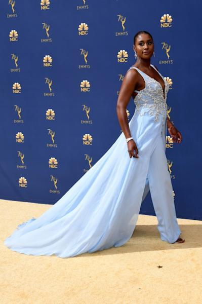 """""""Insecure"""" star and creator Issa Rae rocked a Vera Wang gown -- with trousers underneath -- at the Emmys"""