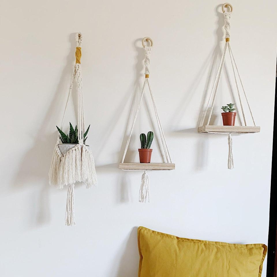 <p>This <span>Macramé Wall Shelf</span> ($31 and up) will embellish your living room.</p>