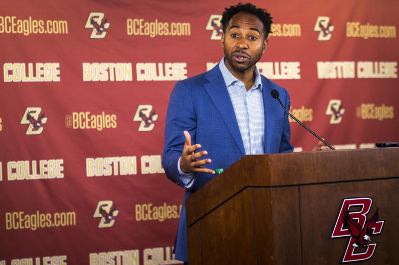 Boston College athletic director Martin Jarmond speaks during the press conference on Dec. 2, 2019. (Nic Antaya for The Boston Globe via Getty Images)