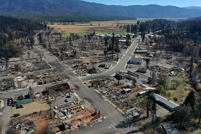 The remains of a neighborhood destroyed by fire