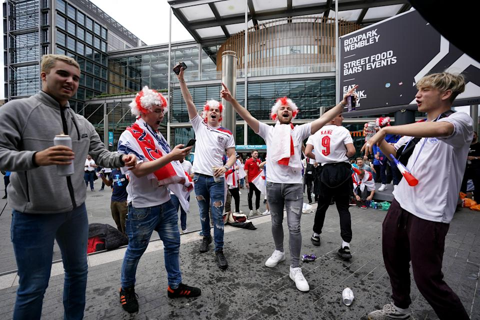 England fans outside Wembley Stadium ahead of the UEFA Euro 2020 semi-final match between England and Denmark (PA Wire)