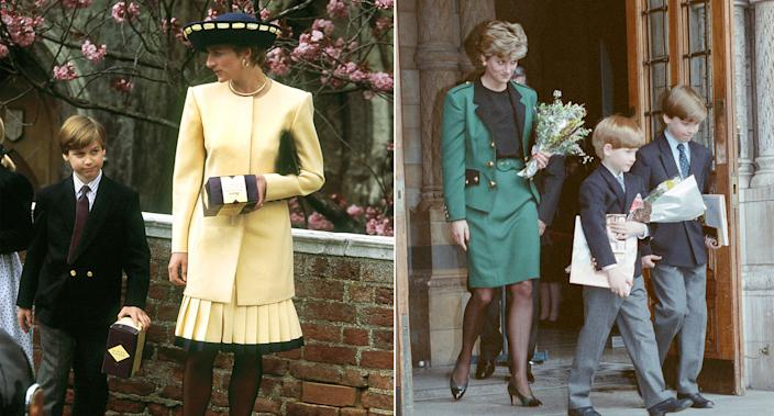 Princess Diana with Prince William and then with William and Harry, in 1992. [Photos: Getty]