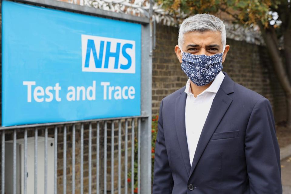 <p>Sadiq Khan visits a Test and Trace centre in East Ham in September</p>GLA/Twitter