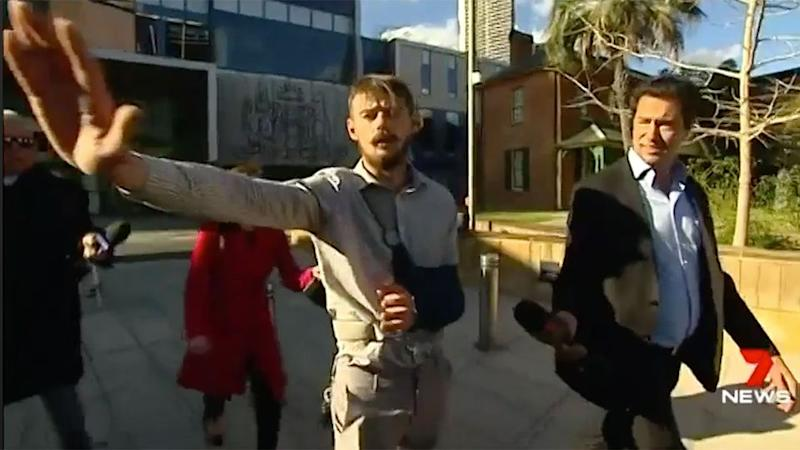 Outside court, Conte (pictured left) was not impressed, swearing at reporters. Source: 7 News