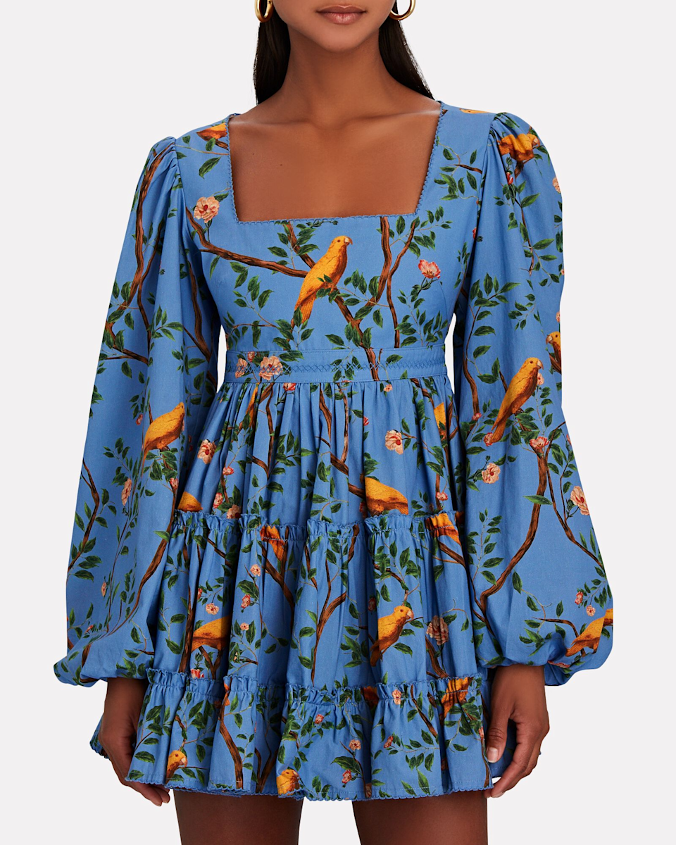 """<h2>Wanderlust Prints</h2><br>""""Dressing like you are on vacation (even if you are still sweating it out in the city) is a must. This is the season for wanderlust prints.""""<br><br>- Divya Mathur, Chief Merchant at INTERMIX <br><br><strong>Agua By Agua Bendita</strong> Avena Canarios Tiered Mini Dress, $, available at <a href=""""https://go.skimresources.com/?id=30283X879131&url=https%3A%2F%2Fwww.intermixonline.com%2Fagua-by-agua-bendita%2Favena-canarios-tiered-mini-dress%2F8371-AVENA.html%3Fdwvar_8371-AVENA_color%3D001%26cgid%3Ddesigner-agua-by-agua-bendita%23start%3D1%26prodIndex%3D12"""" rel=""""nofollow noopener"""" target=""""_blank"""" data-ylk=""""slk:Intermix"""" class=""""link rapid-noclick-resp"""">Intermix</a>"""