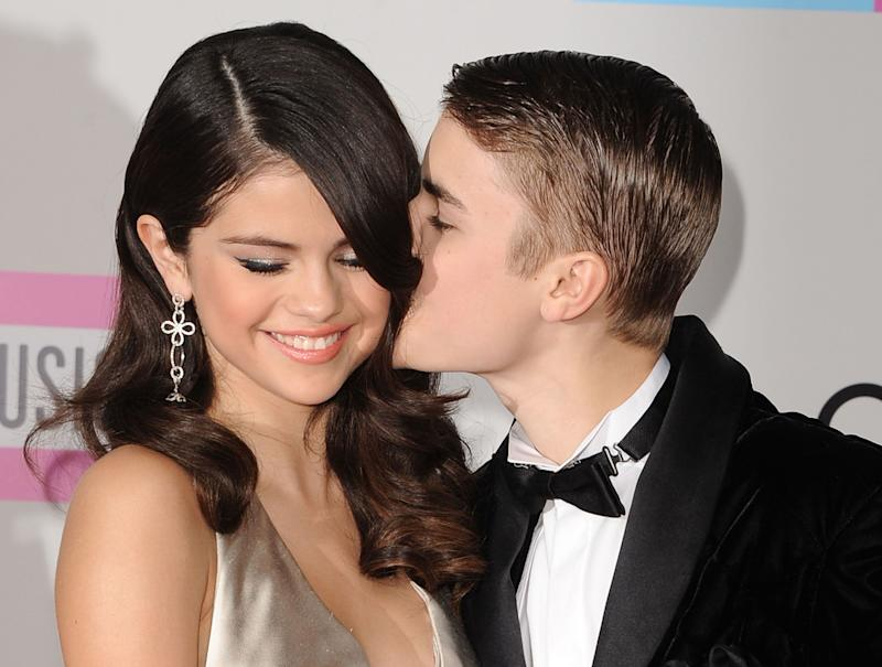 Selena Gomez and Justin Bieber at an event