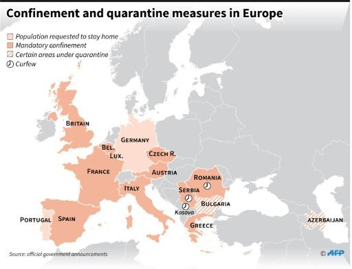 Map of Europe showing countries under lockdown or that have imposed quarantine or curfew measures